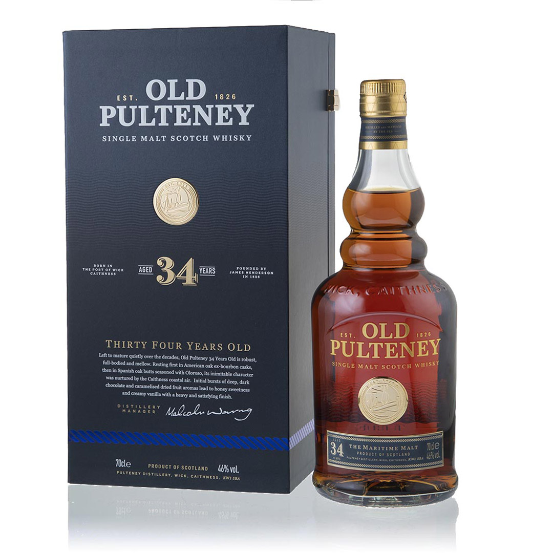 Hunter Luxury Old Pulteney 34 Year Old Whisky packaging